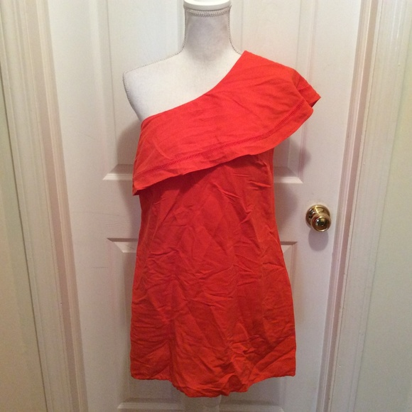 Tory Burch Dresses & Skirts - Tory Burch Dress S Dark Orange One Shoulder Pocket